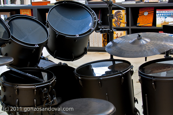 Flat Black Drums w/ Jimi Hendrix in the Back Ground